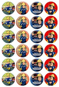 24 x Fireman Sam Edible Cupcake Toppers Pre-Cut in Home & Garden, Parties, Occasions, Cake | eBay