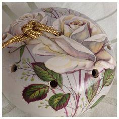 Vintage Ye Olde Ceramic Pomander with Gold Tone Hanging Loop, White Roses…