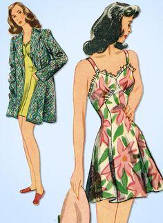 1940s Original Vintage Simplicity Pattern 4624 Rare Bathing Suit & Jacket 32 B