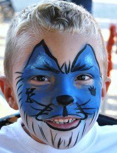 University of Kentucky face painting.  Wildcat face paint.   Kentucky wildcat blue face paint