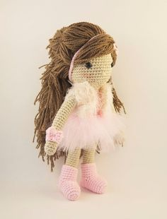 Amigurumi crochet doll - Stylish little girl with pink tutu dress and faux fur vest
