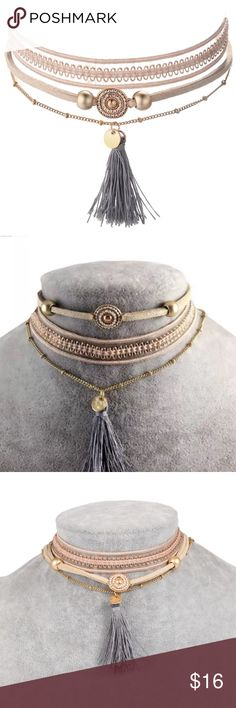 New 3 Piece Tassel Choker Set Brand new set of three choker necklaces. Where them altogether in one at a time! ⭐️fast shipping 🌟discounted bundles ✨Posh ambassador and top 10% rated seller Jewelry Necklaces