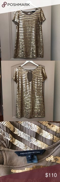 French Connection Cocktail Gold Sequin Dress Beyond Beautiful! Forgiving & appropriate, shift dress with all over gold sequins. Looks fabulous with taupe booties. Great for weddings!  Size 8. Fits Size 6-8 100% Rayon. Dry clean only. French Connection Dresses Wedding