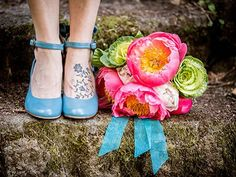 GORGEOUS bouquet and blue wedding shoes. Jade Turgel Photography, Northern California Wedding Photographer Napa Sonoma Wine Country Weddings