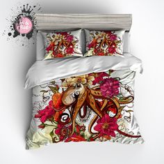 Octopus and Flowers Duvet Bedding Sets <3