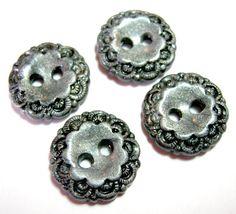 Silver Vintage Style Buttons set of 4 handmade buttons por TessaAnn