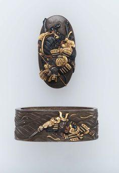 Fuchi-kashira with designs of a battle at the Uji River. Japanese Edo period early to mid-19th century - Tamagawa Tomonobu http://www.mfa.org/collections/object/fuchi-kashira-with-designs-of-a-battle-at-the-uji-river-12505