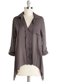 From Dawn to Desk Top - Short, Sheer, Woven, Grey, Solid, Pockets, Casual, Safari, 3/4 Sleeve
