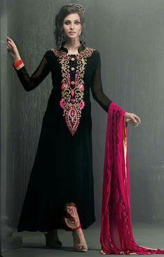 Magnetic Black Color #Partywear Salwar Set @ http://www.indiandesignershop.com/product/magnetic-black-color-partywear-salwar-set/