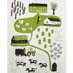 Kauniste tea towel (farm)