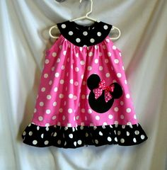 Minnie Mouse Dress Applique Ruffled Dress by MontanaTwirls on Etsy, $38.00