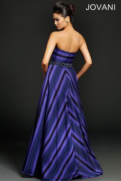 Strapless printed stripe gown 94174 - Evening Dresses