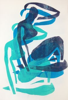 "Monoprint by Henriëtte Pentenga ""inspired by Matisse, blue nude """