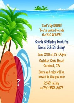 beach party invitation templates free beach theme ideas