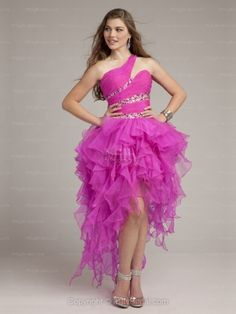 A-line One Shoulder Organza Asymmetrical Fuchsia Tiered Cocktail Dresses