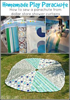 Tutorial for sewing a homemade play parachute made from dollar store shower curtains from And Next Comes L