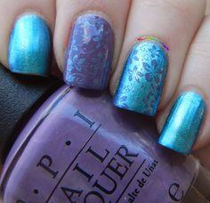 Hawaii stamping nail art with O·P·I This Color's Making Waves & Hello Hawaii Ya? using Born Pretty Store BP 08 plate