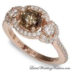 Chocolate diamond, chocolate gold setting, diamonds
