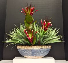 Exotic 2014 Zen Floral: Spray Protea, Wild Grass and mini Black River Rocks on Plaster Cat Eye Blue vase. Original design and arrangement by http://nfmdesign.synthasite.com/