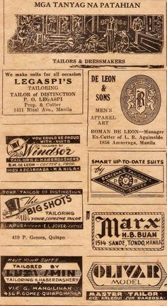 Famous tailors circa 1947 Pinoy, Manila, Dressmaking, Ph, Retro, How To Make, Vintage, Sew Dress, Vintage Comics