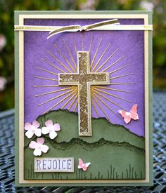 Krystal's Cards: Stampin' Up! Good Friday Blessed by God Heat Emboss Tutorial #stampinup #krystals_cards #easter #blessedbygod #cross #rejoice #heatembossing #papercrafts #cardmaking #handstamped