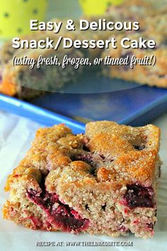 Make this easy snack/dessert cake using your favourite fruit. It's delicious with plums or apples but you could also use apricots, raspberries, or rhubarb! Plum Recipes, Apple Cake Recipes, Easy Cake Recipes, Sweet Recipes, Dessert Recipes, Rhubarb Recipes, Banana Recipes, Dinner Recipes, Brownies