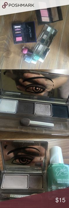 Used makeup bundle This is a lot of 3 eye pallets the two Clinique pallets were hardly used, the Lancôme pallet has be used , the maybe lounge contour pallet was hardly used and three nail polishes are used. Clinique Makeup Eyeshadow