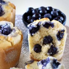 TheseGluten-Free Vegan Blueberry Muffins are moist and fluffy, packed full of sweet, juicy blueberries, and definitely healthy enough for breakfast! Refined sugar free.