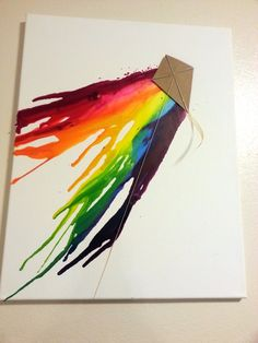 Original Melted Crayon Art with Kite. via Etsy.