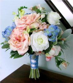 """The """"Abundance"""" Bouquet and Boutonniere - Blush Pink, White, Light Blue, and Lime Green Silk Flower Bouquet with open roses, hydrangea, irises, freesia, sweet peas and lamb's leaf, #bridalbouquet #nosegay #PosiesPearls #weddingflowers"""