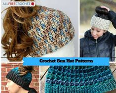 These crochet messy bun hat patterns come in all colors and yarn weights, from worsted weight to super bulky! Hold your ponytail with a new beanie. Crochet Beanie Pattern, Crochet Cap, Free Crochet, Tunisian Crochet, Blanket Crochet, Crochet Dolls, Double Crochet, Hat Patterns, Crochet Patterns