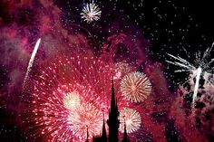 Disney Castle in pink fireworks....so pretty!!!