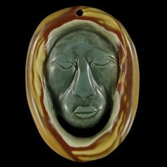 BH12609# Natural Hand Carved Face Succor Creek Jasper Pendant Bead #Handmade #Pendant