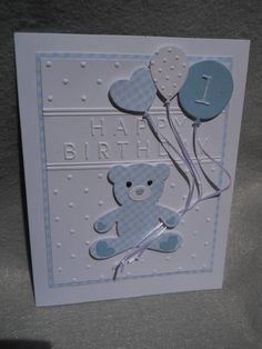 Happy Birthday for boy, birthday bear w balloons, First Birthday, blue checked birthday bear, little Homemade Birthday Cards, Birthday Cards For Boys, 1st Boy Birthday, Happy Birthday Cards, Homemade Cards, Baby Boy Cards Handmade, New Baby Cards, Greeting Cards Handmade, Scrapbooking Diy