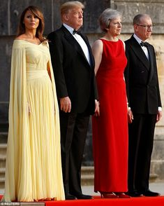 Tres chic: Melania looked elegant as she posed in her couture gown at the start of the evening Milania Trump Style, Elie Saab Dresses, Yellow Gown, Trump Is My President, Standing Poses, First Lady Melania Trump, Bridesmaid Dresses, Wedding Dresses, Fashion Pictures