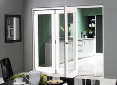 Finesse White 2.4m (approx 8ft) Internal Bifold Doors -with bottom track » Vufold