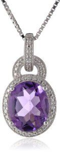 """Sterling Silver Amethyst and Diamond-Accented Pendant Necklace, 18"""" available at joyfulcrown.com"""