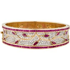 Pre-owned 18K Ruby and Diamond Vine Hinged Bangle ($4,725) ❤ liked on Polyvore featuring jewelry, bracelets, ruby bangles, square bangles, hinged bangle, diamond bangles and 18k bangle