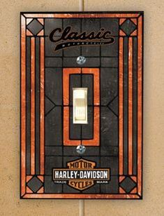 Harley Davidson Classic Motorcycle Art Glass Single Switch Cover HD HDC461