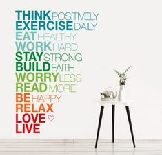 Textos que decoran los espacios! Think positively!!!