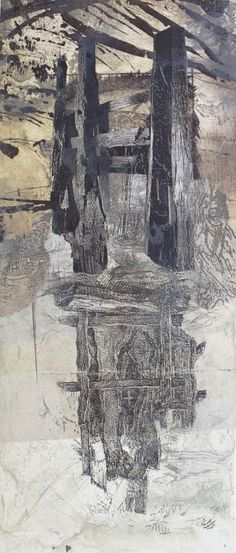 """Penumbra, 9″x 20″. Monoprint with chine colle. 2013 Myles Dunigan"