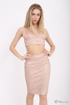 3494fde70978 Ladies apricot glitter co-ord crop top and skirt set wholesale - Women's Wholesale  Clothing
