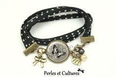 Bracelet liberty pois Papillon vintage cabochon gris noir blanc ღnoeud fleurs ღ roses coeur