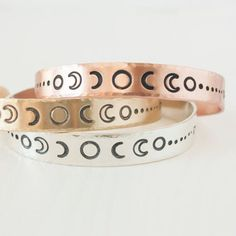 Moon Phase >> Travel Inspired Sterling Silver Cuff Bracelet