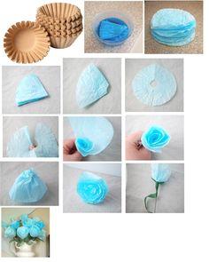 Maak je eigen rozen van koffiefilters. {Wit} Maak ze nat en geef ze een kleur, en leg ze daarna te drogen. Vouw ze dubbel, en knip een halve cirkel. Vouw ze daarna open en knip deze in. rol ze daarna op.