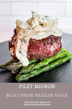 Filet Mignon with Blue Cheese Shallot Sauce - Date night at home? Impress your honey on Valentine's Day with my Filet Mignon and Blue Cheese Sh - Meat Recipes, Dinner Recipes, Cooking Recipes, Healthy Recipes, Filet Recipes, Icing Recipes, Ramen Recipes, Chickpea Recipes, Carrot Recipes