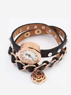 Leisure Fashion Personality Flower Multilayer Leather Watch Bracelet