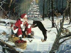#Doberman and Santa