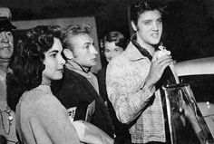 "Elvis Presley with his girlfriend Barbara Hearn and actor Nick Adams (""Rebel Without a Cause"") in Tupelo, MS on September 26, 1956."