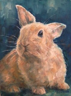 Palomino Rabbit Oil Painting Bunny Animal Pet Art -- Debra Sisson dailypainters.com